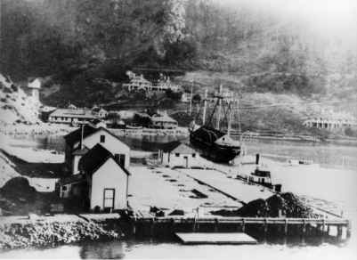 Hospital Cove (aka Ayala Cove), Quarantine Station. Note the Surgeon's and Pharmacist houses pictured in the background. Two of these houses are in use today as quarters for Park Staff.