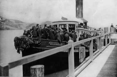 Immigrants arriving at Hospital Cove for quarantine.