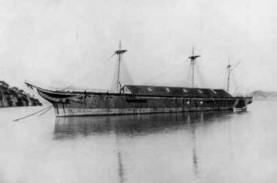 The warship USS Omaha anchored in Hospital Cove, 1896. Obtained from the Navy in 1892, its boilers were used to supply superheated steam for fumigation of infected ships and passengers belongings.