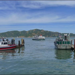 "Soon it was time to board a little shuttle boat parked on the pier in Tiburon.  ""Ayala"" was its name."