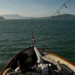 A view of two islands; Alcatraz port, Angel Island starboard