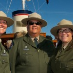 Angel Island State Park Interpreters Casey Dexter-Lee and Ben Fenkell with Superintendent Amy Brees